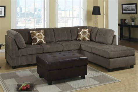 Microfiber Sectional Sofa Poundex Radford F7263 Gray Microfiber Sectional Sofa In