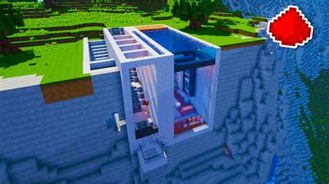 cliff side house minecraft cliff side modern redstone house youtube