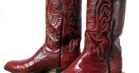 cowboy boots san antonio vintage lucchese eel skin boots burgundy leather san