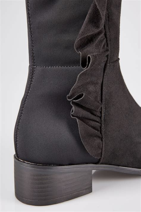 Boots Gift Cards Terms And Conditions - black stretch over the knee boots with side frill detail in e fit
