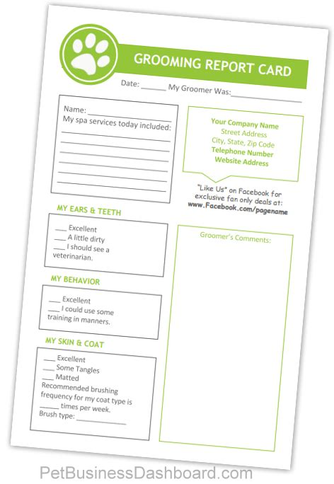 grooming client card template pet grooming report card printables and editable templates