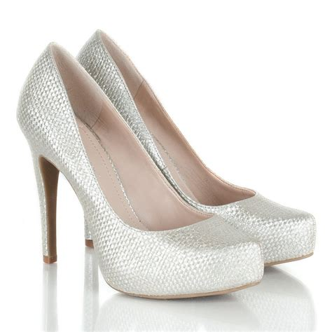 silver high heeled shoes bcbgeneration silver high heeled court shoe