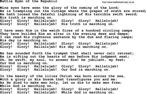printable lyrics to battle hymn of the republic baptist hymnal christian song battle hymn of the