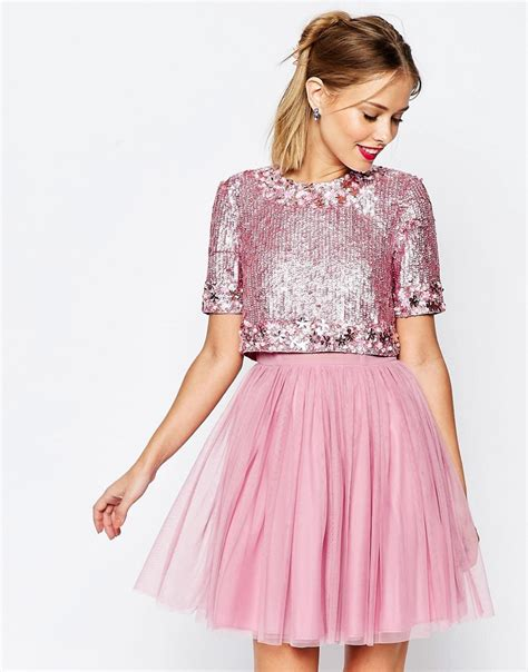 Pink Sparkly Hair From Asos by Asos Asos Salon Crop Top Tutu Netted Mini Skater