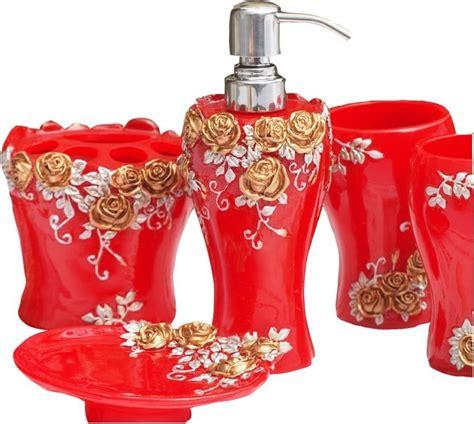red bathroom set red bathroom set