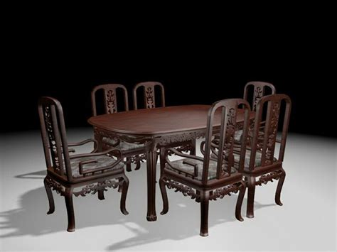 Glass Dining Room Sets Antique Carved Wood Dining Room Set 3d Model 3ds Max Files
