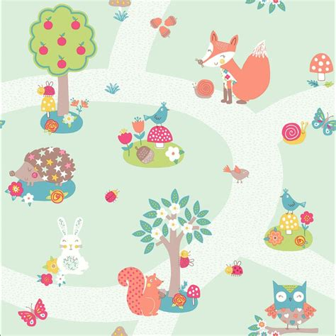 childrens wallpaper arthouse forest friends animals bird pattern cartoon