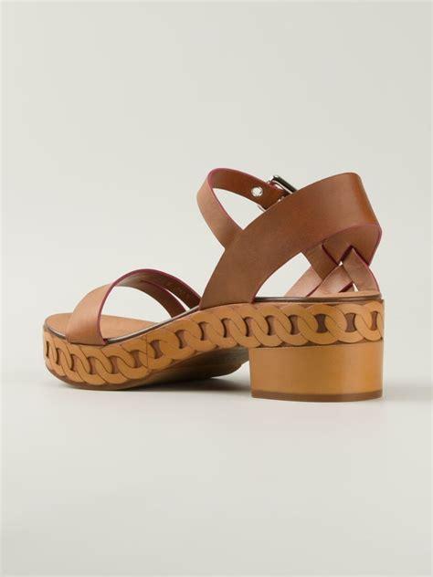 block heeled sandals casadei buckled block heel sandals in brown lyst