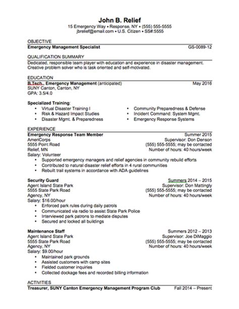 emergency management resume sle