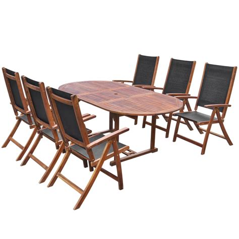 Folding Patio Table And Chair Set Oval Extending Dining Table And 6 Folding Chairs Patio Garden Furniture Set Ebay