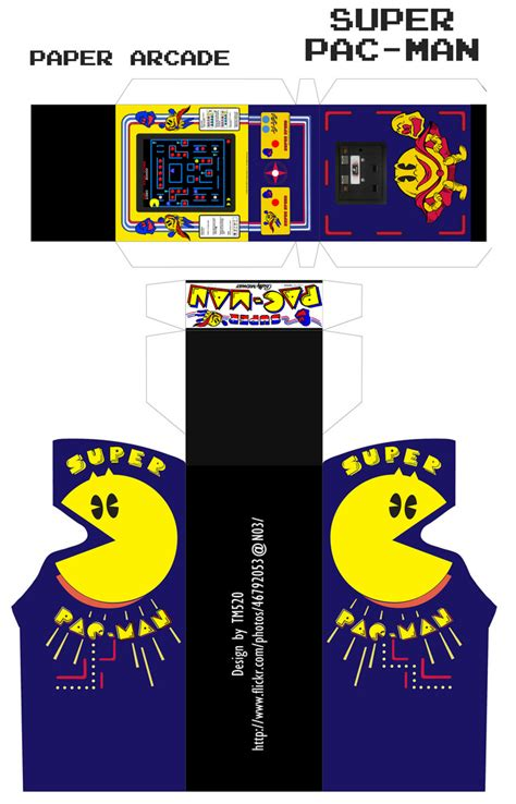super pac man arcade cabinet paper arcade 7 super pac man use scissors to cut the