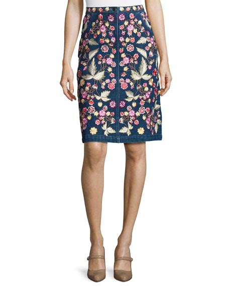 Embroidered Denim A Line Skirt needle thread wildflower embroidered denim skirt blue