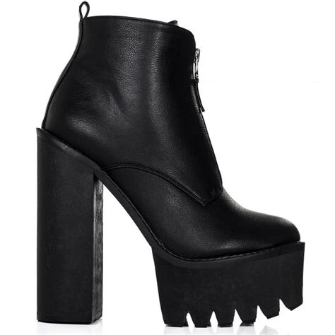 buy bandit chunky cleated sole zip platform ankle boots