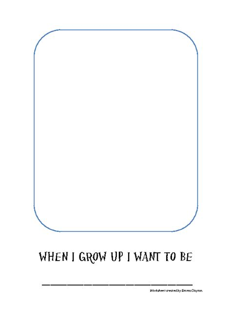 When I Grow Up Worksheet by When I Grow Up I Want To Be Activity