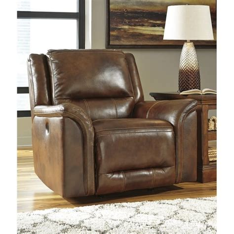 ashley furniture reclining chairs ashley jayron leather power rocker recliner in harness