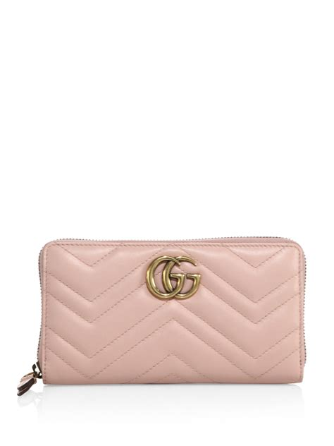 gucci gg marmont matelasse leather zip around wallet in pink lyst