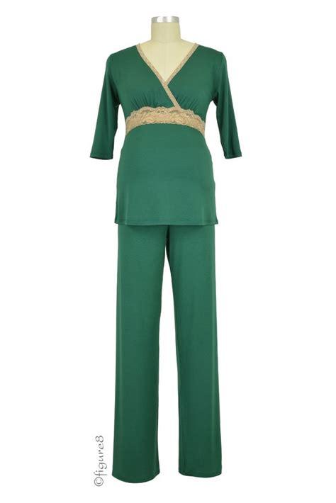 Baju Set Green baju 3 4 sleeve nursing pj set in green