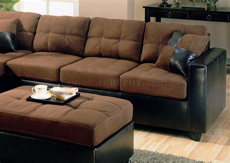 Microfiber Dining Room Chairs by Two Tone Modern Sectional Sofa 500655 Chocolate Dark Brown