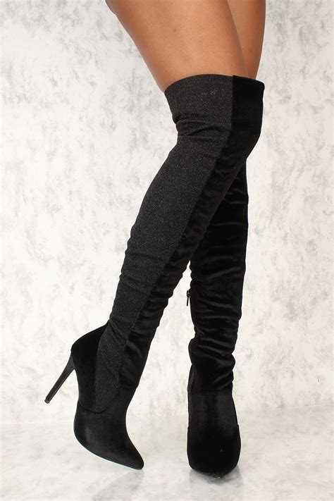 high heel boots black shimmer paneled thigh high heel boots