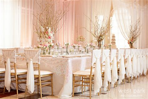 Pale Pink Wedding Decor by Pink Gold Wedding Inspiration
