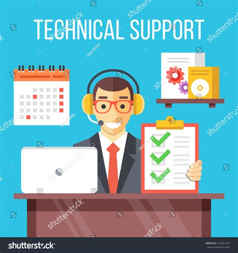 call center design questions technical support specialist work call center stock vector