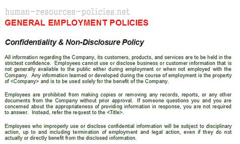 confidentiality policy template client confidentiality policy exle templates resume