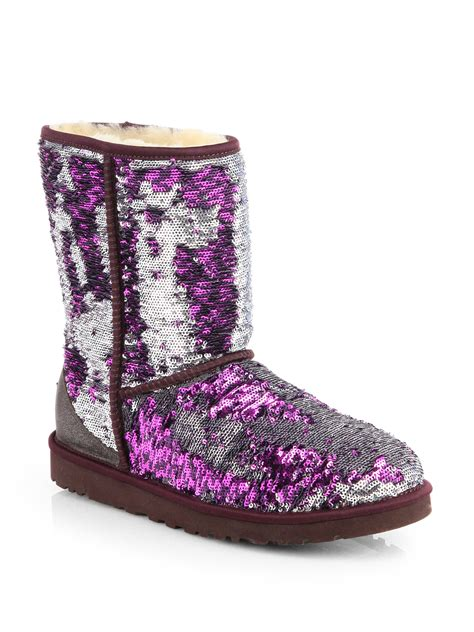 ugg classic sparkle boots in purple lyst