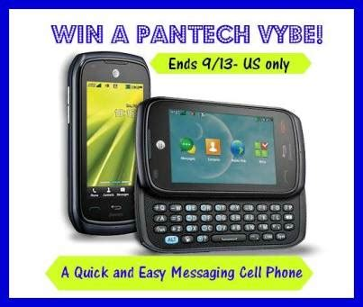 Cell Phone Giveaway - enter to win this pantech vybe cell phone giveaway