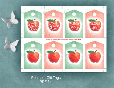 printable apple gift tags red apple gift tags with calligraphy text best teacher