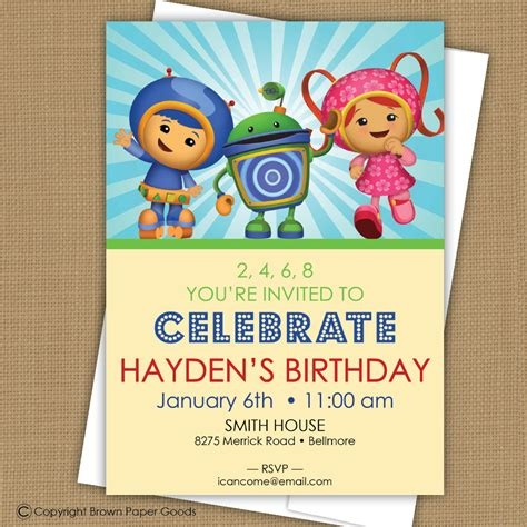 printable umizoomi invitations team umizoomi birthday invitation by brownpaperstudios on etsy