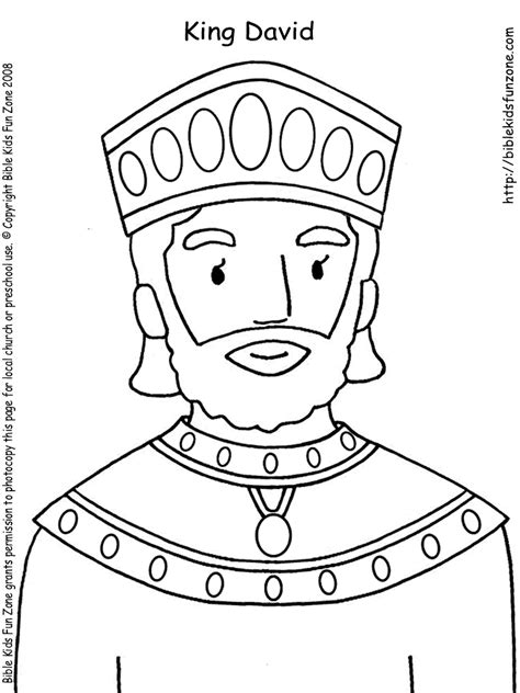 king david with a crown bible coloring page