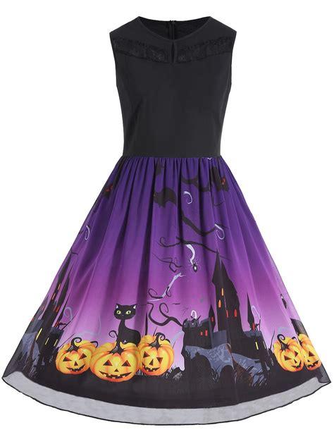 Cc Dress Black Purple dresses purple 5xl sleeveless pumpkin print plus size dress gamiss
