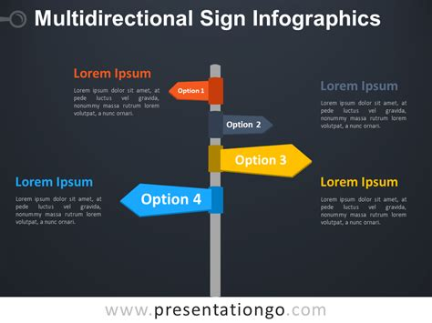 Infographics Templates For Powerpoint by Multidirectional Sign Infographics For Powerpoint