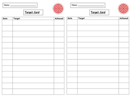 Target Card Template Ks2 by Target Card By Njonesford Teaching Resources Tes
