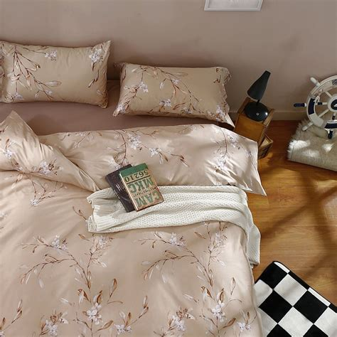 Romantic Floral Scarf Duvet Cover Vintage Botanical Blooming Branches Print Bedding Romantic