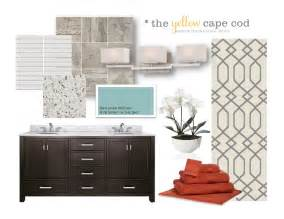 the yellow cape cod orange turquoise and gray master suite