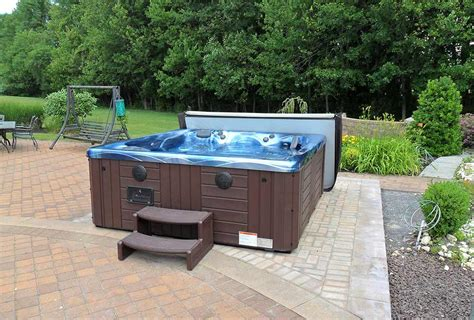 patio tub backyard ideas for tubs and swim spas