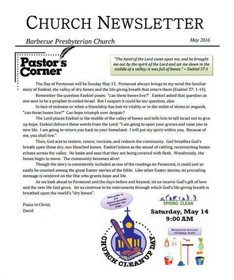 christian newsletter templates free sle church newsletter 9 documents in pdf