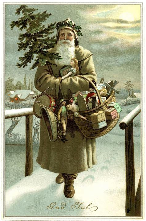 Sinterklas Belt Santa Claus Card Kartu Pos Postcard Natal is quot god jul quot quot santa quot vintage pallet