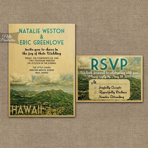 Wedding Invitations Oahu by Hawaii Wedding Invitation Printable Vintage Hawaiian