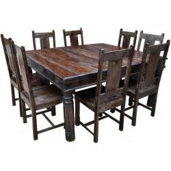 Dining Table Chairs Rustic Square Solid Wood Furniture Large Dining Room Table