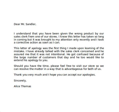 Apology Letter Misunderstanding professional apology letter levelings