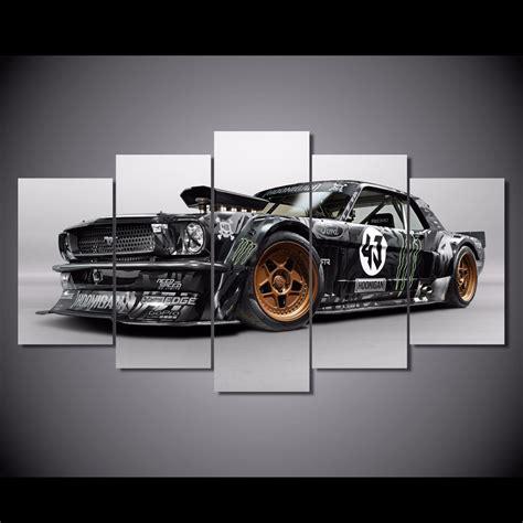 printable car wall art 5 pcs set framed hd printed ford mustang car picture wall