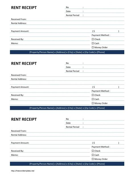 free rent receipt template rent receipt template