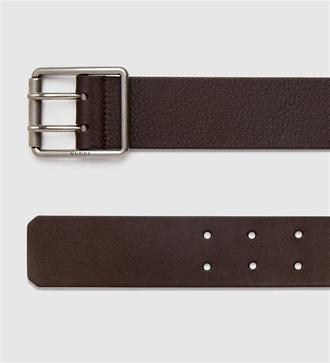 Gucci Color Center Leather Brown gucci leather belt with prong square buckle in brown for lyst