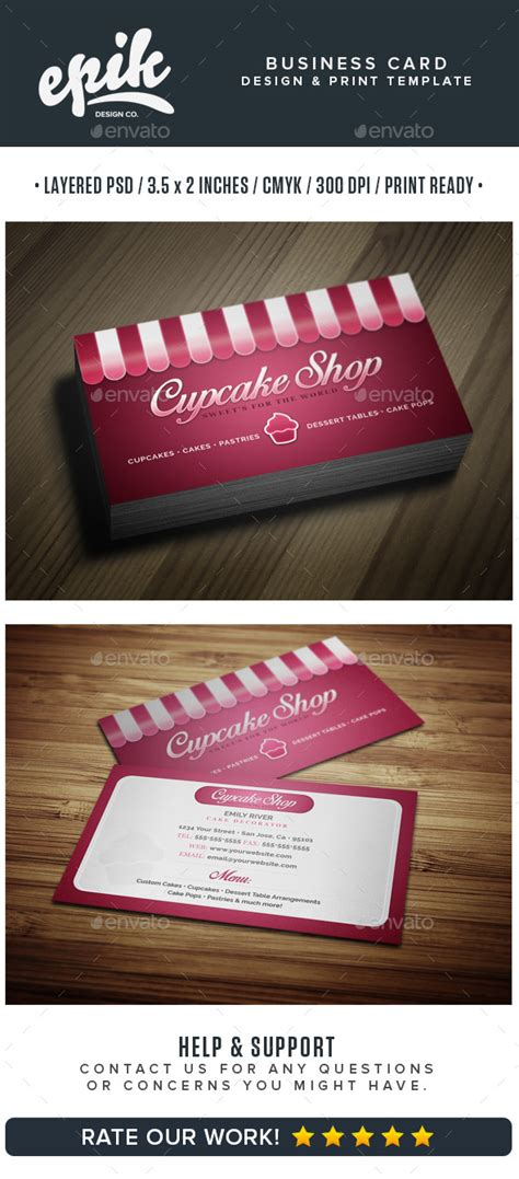 shop business cards templates bakery shop business card template graphicriver