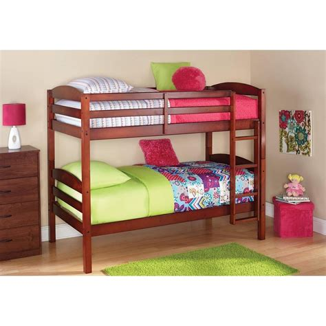 Twin Bunk Bed For Kids Converts To Two Solid Wood Guard Wood Bunk Beds