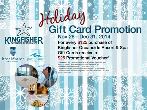 Gift Card Promotion - kingfisher christmas gift certificates kingfisher oceanside resort and spa