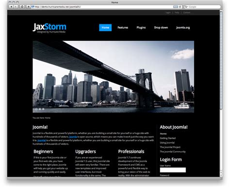 jaxstorm black free template for joomla 3 0 black