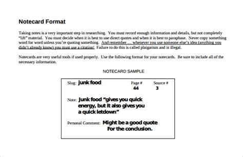 sample note card templates   sample templates